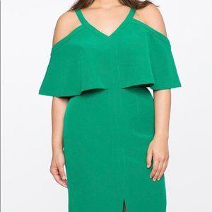 Eloquii Green Cold Shoulder Front Slit Dress 18